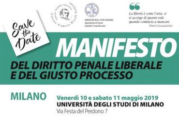 Save the Date – Manifesto del diritto penale liberale e del giusto processo