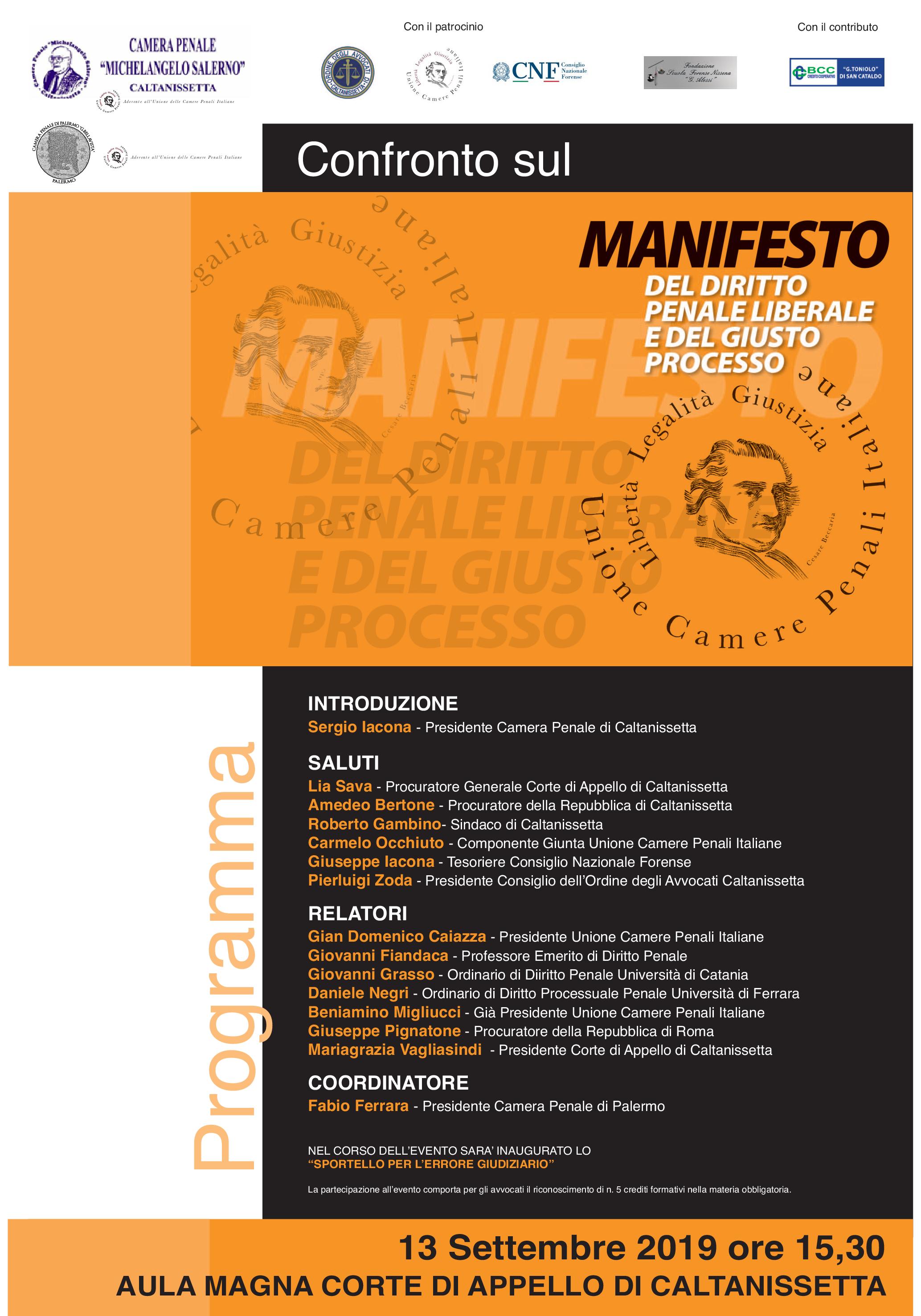 """CP Palermo e CP Caltanissetta – Confronto sul """"Manifesto del diritto penale liberale e del giusto processo"""""""